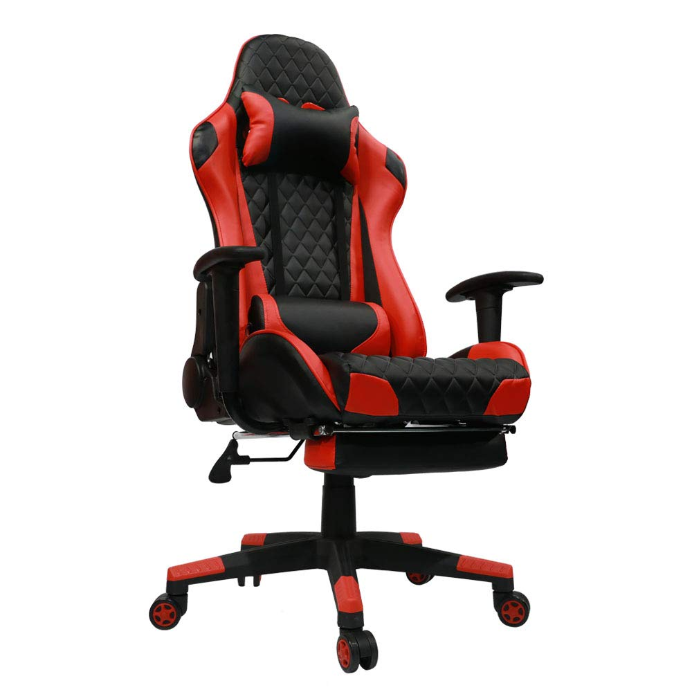 Kinsal Gaming Chair High-Back Computer Chair, Ergonomic Racing Chair, Leather Premium Swivel Executive Office Chair Including Headrest and Massage Lumbar Pillow (Red) by Kinsal