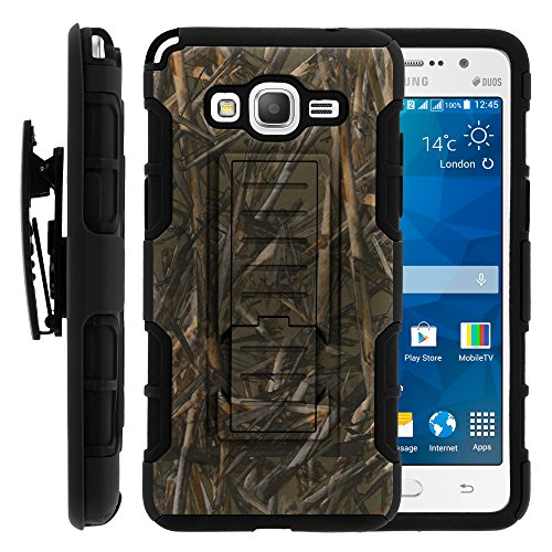 Galaxy Grand Prime Case, Galaxy Grand Prime Holster, High Impact Advanced Double Layered Hard Cover with Built in Kickstand and Belt Clip for Samsung Galaxy Grand Prime SM-G530H, SM-G530F (Cricket) from MINITURTLE | Includes Screen Protector - Dry Wood Camouflage