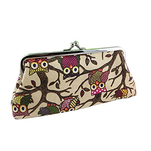 Fashion Beige Vintage Wallet Clearance Style Lovely Wallet Clutch Owl Hasp Coin Handbags Bags Small 2018 Pockets Women Noopvan Purse qtwIUt