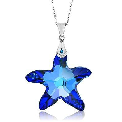 0be72a7d0cba4 Sterling Silver Berumda Blue Starfish Pendant Made with Swarovski Crystals