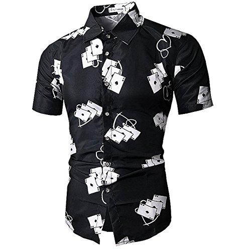 BELLER Men's Luxury Dress Shirt Casual Short Sleeve Print Fitted Wrinkle Free Shirt (L, C25)