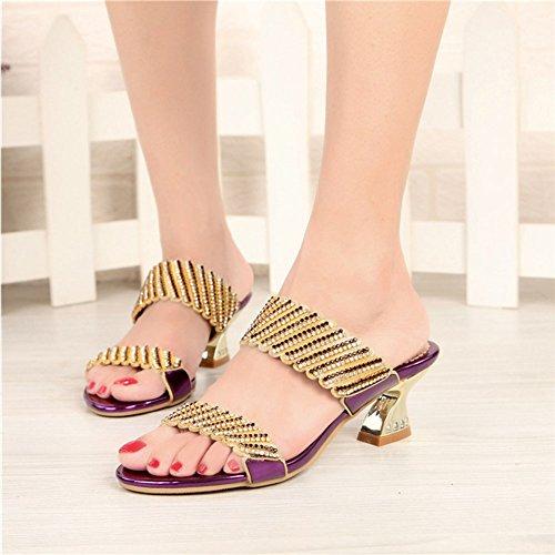 Portent mi Chaussures des épaisses Talon d'achats des avec d'été Femmes des à Diamants Décontractées pourpres xie Pantoufles de Les Strass WHaq0f1