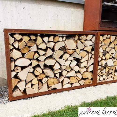 prima terra Rayon pour Bois de Chauffage infinita Patine Acier Longueur 118cm Largeur 118cm Profondeur 35cm