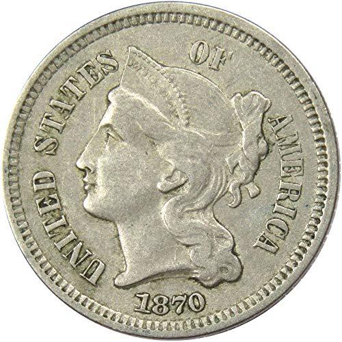 1870 3c Nickel Three Cent Piece US Coin VF Very Fine