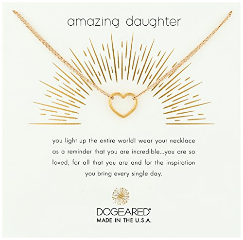 Make Necklace Wish Dogeared A (Dogeared Amazing Daughter, Medium Open Heart Double Gold Chain Necklace, 16