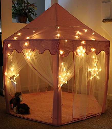 Wooden Outdoor Playhouse Kit (LH Insights Large Princess Castle Play Tent With LARGE STAR LIGHTS, Outdoor and Indoor Pink Kids Pretend Playhouse for Girls)