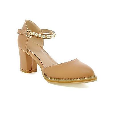 1To9 Pour Femme Perle Pointed-Toe Matière Souple Pumps-Shoes Beige Orange Abricot, 38.5 EU, MJS00255