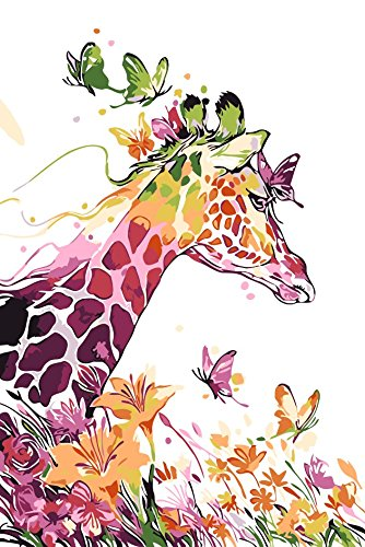 Version 3.0 HD DIY Oil Painting by Numbers Kit Theme PBN Kit for Adults Girls Kids White Christmas Decor Decorations Gifts- Giraffe (20W040, Without -