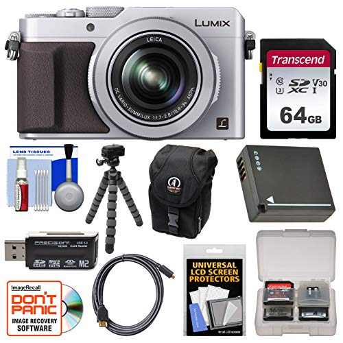 Panasonic Lumix DMC-LX100 4K Wi-Fi Digital Camera (Silver) with 64GB Card, Case, Battery, Flex Tripod and Kit (Panasonic Lumix Dmc Lx100 Digital Camera Silver)