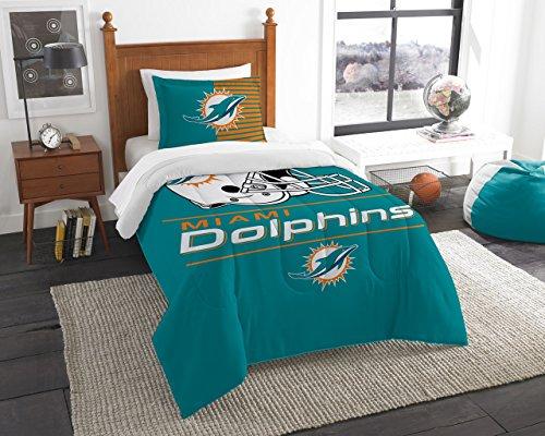 The Northwest Co mpany NFL Miami Dolphins Draft Twin 2-piece Comforter Set (Nfl Miami Draft Dolphins)