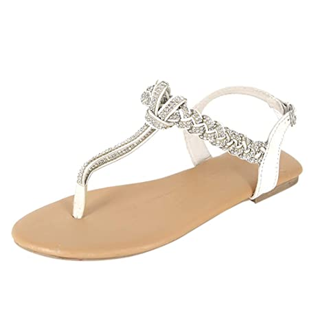 3dde34eb7d5 ... Womens Ladies Rhinestone Decoration Woven Design Insert Set Belted Open  Toe Thong Flip-Flops Back Heel Buckle Strap Toe-Post Flat Sandals   Automotive