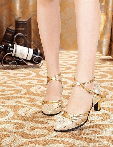 Or Gros En Personnalisable Noir De Or Chaussures Talon Shangyi Femmes Cuir Latin Non Danse 46wxSq