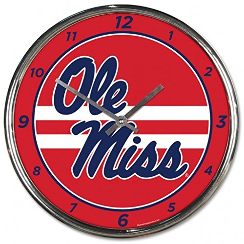 NCAA Mississippi Rebels WinCraft Official Chrome Clock by NCAA