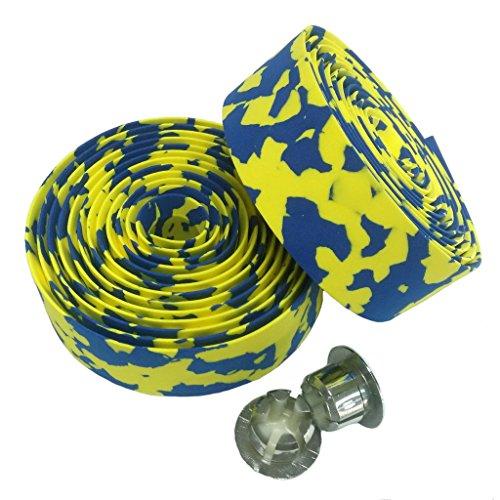 KINGOU Camouflage Absorbing Road Vibration Bicycle Fixed Gear Bar/Handlebar Tape Bandage - Yellow & Blue