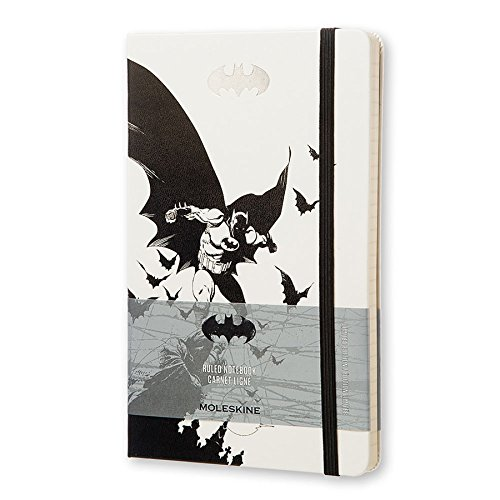 """Moleskine Limited Edition Batman Notebook, Hard Cover, Large (5"""" x 8.25"""") Ruled/Lined, White, 240 Pages"""