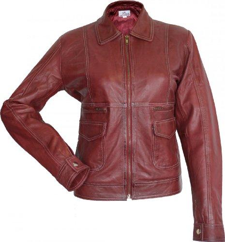 Damen Lederjacke Trend Fashion echtleder Jacke aus Lamm Nappa Leder rot