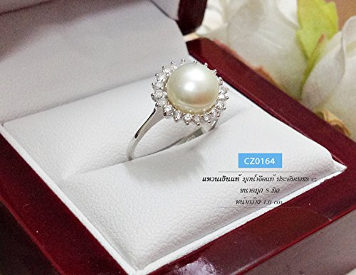 ThaiWow Fresh Water Pearl & Cubic Zirconia 925 Sterling Silver Ring (One Way Roller Clutch)