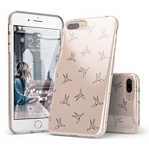 iPhone 8 Plus Case Birds, iPhone 7 Plus Case Origami, CASELY Origani Beige Crane Bird Design Clear Bumper TPU Gel Slim Soft Flexible Rubber Silicone Cover iPhone Case for Women Teens