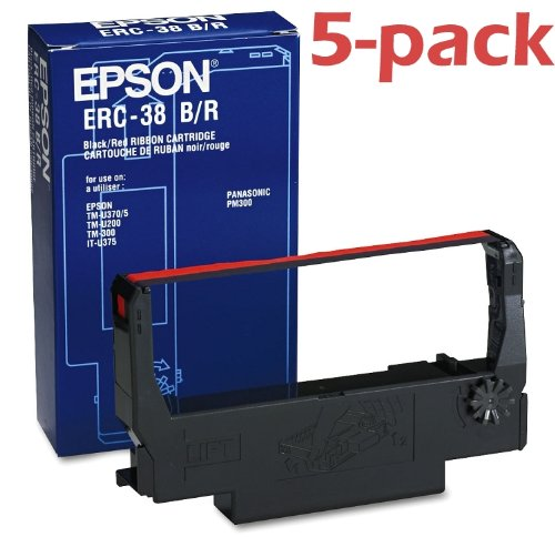 5-pack Genuine Epson ERC38BR Cash Register Ribbon Black/Red EPS ERC38BR (Ribbon Rock)