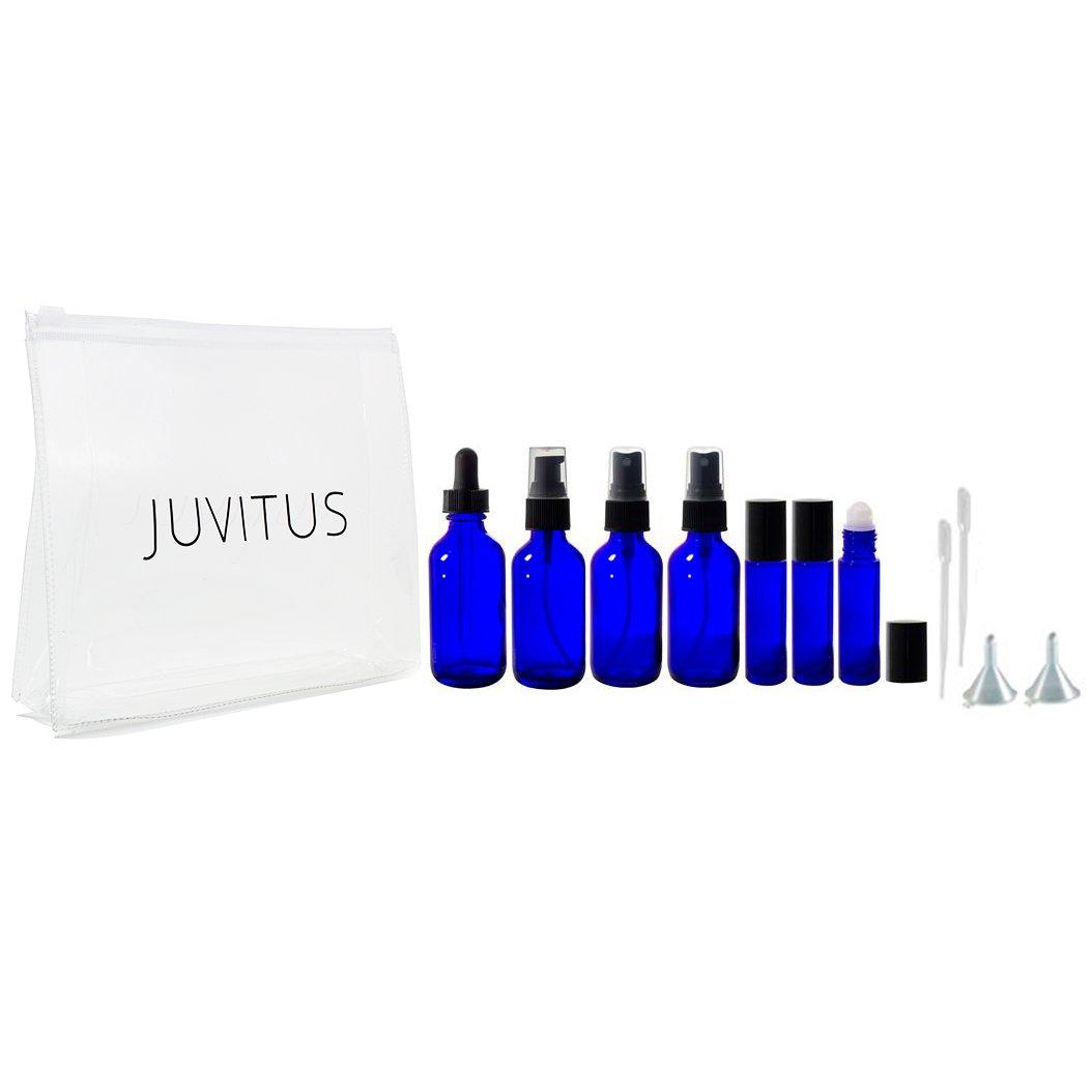 2 oz Cobalt Blue Glass Bottle 12 Piece Starter Kit Set Includes 3-10 ml roll on Bottles, 2-2 oz Spray Mister, 1-2 oz Treatment Pump, 1-2 oz Dropper Bottle, Travel Bag, Funnels and Pipettes