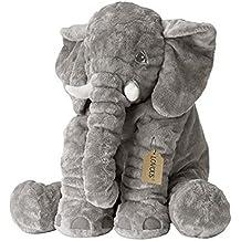 LOVOUS Big Stuffed Elephant Plush Doll Toy, Grey