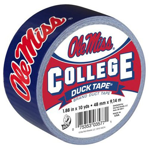 Duck Brand 240283 University of Mississippi Ole Miss College Logo Duct Tape, 1.88-Inch by 10 Yards, Single - Mississippi Colleges University