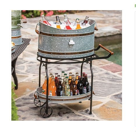 Beverage Tub and Serving Tray with Stand/Rolling Cart Galvanized Party Bucket Built-in Bottle Opener