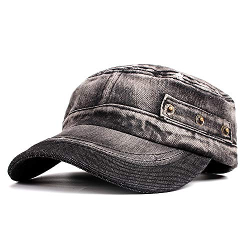 Vintage Washed Denim Cotton Peaked Baseball Cap Distressed Cadet Army Cap Millitary Corps Hat Cap Visor Flat Top Adjustable Baseball Hat ()