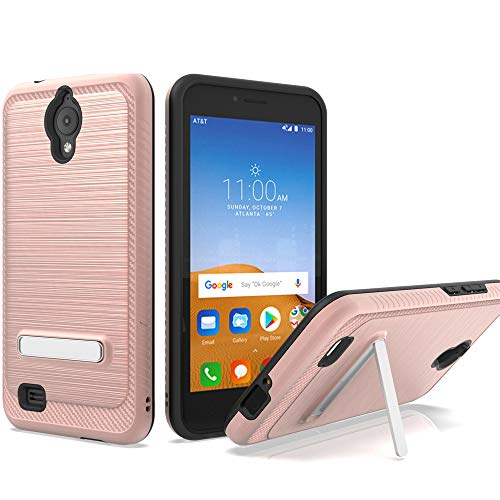 AT&T AXIA Case, ATT QS5509A case, Androgate [Silk Series] Hybrid Matte Defender Phone Case Cover with Kickstand for AT&T AXIA (Cricket Vision), Pink Gold