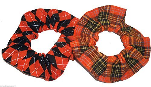 Halloween Orange Black Plaid Argyle Fabric Hair Scrunchie Handmade by Scrunchies by Sherry Set of 2