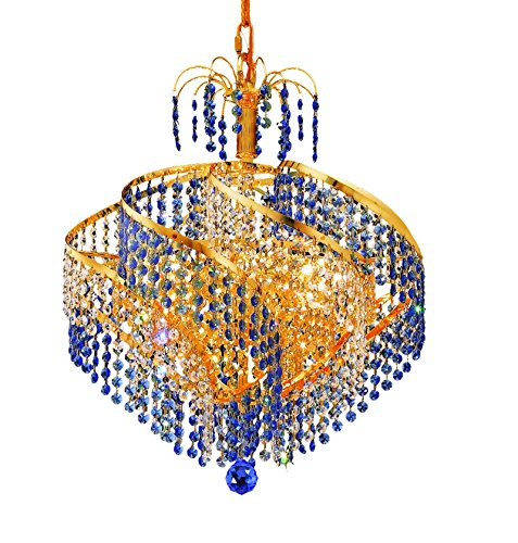 Elegant Lighting Spiral Collection 8-Light Hanging Fixture with Royal Cut Crystals, Gold Finish ()