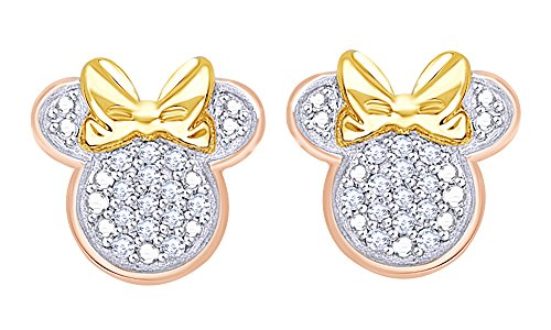 Gold Stud Over Silver (Round Cut Real Diamond Minnie Mouse With Bow Stud Earrings In 14K Rose Gold Over Sterling Silver)