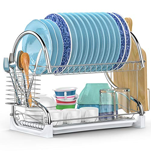 Dish Drying Rack, iSPECLE Upgrade 2 Tier Dish Rack with Utensil Holder, Cutting Board Holder and Kitchen Dish Drainer for Kitchen Counter Top, Plated Chrome Dish Dryer Rack Silver 17.0x9.7x14.6inch by iSPECLE