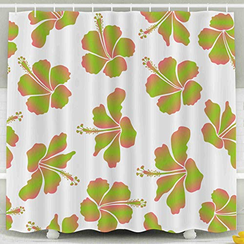 ROOLAYS Funny Shower Curtain, Design in Pink Green Colors Invitation Wedding Greeting Cards Floral Pattern Hibiscus Flowers Decorative for Home Décor 78x72 Inch Bathroom Fabric Shower Curtains