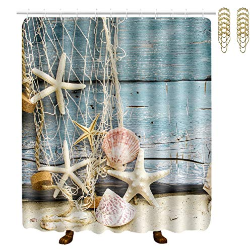 NiYoung 3D Print Starfish Conch Seashell Shower Curtains Water Repellent Shower Curtains - 70