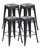 eurosports Tolix Style Chair 3001-ABS-4 Backless Metal Bar Stools Chair, Set of 4 Antique Black Silver 26 inches Review