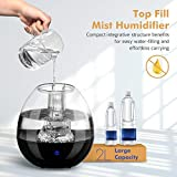 Homasy Humidifiers with Anti-Bacteria Stone, Ultrasonic Cool Mist Humidifier for Baby Bedroom, Vaporizer Humidifying Unit with Whisper-Quiet Operation & Auto Shut-Off (Top-Refill Design)