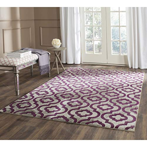 D&H Meticulously Purple Grey Trellis Pattern Area Rug (3' x 5'), Beautiful Contemporary Crafted Design, Geometric Print, Luxurious Comfort, Plum Colored Floor Carpet (Rugs Plum Coloured)