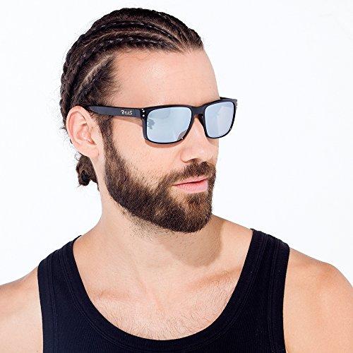 84d59eb3bb B.N.U.S Sunglasses Shades for men women Sliver mirrored lenses Polarized ( Frame  Black