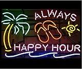 Urby™ 20''x16'' Always Happy Hour Palm Tree Beer Bar Pub Neon Light Neon Sign -Excellent & Unique Handicraft! U51