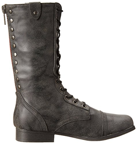Madden Girl Womens Galeriaa Combat Boot Black Smooth yvaY8fYhx
