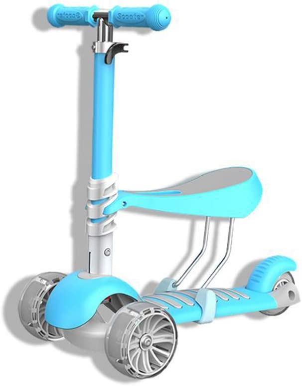 Scooter de patinaje de 3 ruedas Scooter para principiantes con asiento desmontable de altura ajustable, manillar en forma de T y volante con luz LED para niños, niñas, niños de 2 a 8 años de edad