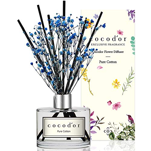 Cocod'or Flowers Reed Diffuser Oil Sticks Gift Set   Baby's Breath Preserved Flower Diffuser 6.7oz Pure Cotton