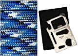 Ultimate Arms Gear Bucky Blue Pattern 100' Feet Military GI Nylon Type III Specification 550 lbs 7 Strand Heavy Duty Utility Braided Paracord Survival Parachute Tactical Para Cord Rope Made in the U.S.A. - Black, Blue, Grey & White - Design Camo Camouflage + 11-in-1 Multi Functional Purpose Function Credit Card Size Stainless Steel Outdoor Survival Pocket Tactical Tool with Carrying Pouch Case