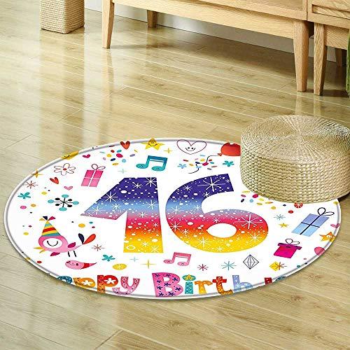 (Print Area Rug 16th Birthday Decorations Cute Teen Celebration Motif Hearts Balloon Bird Box Stars Design Multicolor Perfect for Any Room, Floor Carpet R-24)