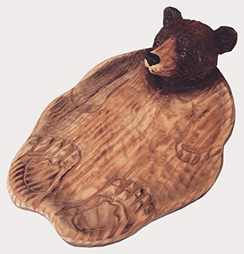 Carved Candy Dish - Atmosphere Leisure Brown Bear Candy Dish Statue Sculpture Figurine. Hand Carved & Made 100% Solid Pine Wood.