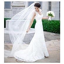 EllieHouse Women's 2 Tier Chapel Wedding Bridal Veil With Comb E22