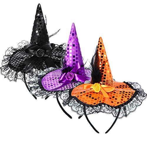 Blulu 3 Pieces Halloween Witch Hat Headband Witch Hat Headpiece Masquerade Witch Headband for Costume Halloween Party Decoration (Color Set 2)