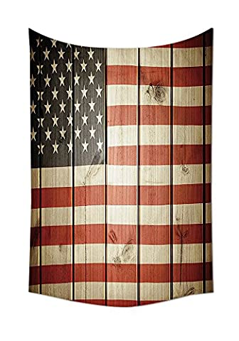 American Flag Decor Tapestry Usa Flag over Vertical Striped Wooden Board Citizen Solidarity Kitsch Art Wall Hanging for Bedroom Living Room Dorm Blue (Citizen Flag Band)