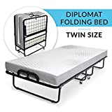 "Milliard Diplomat Folding Bed – Twin Size - with Luxurious Memory Foam Mattress and a Super Strong Sturdy Frame – 75"" x 38"